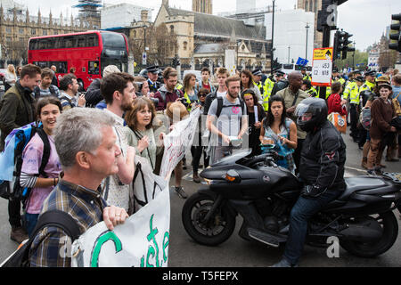 London, UK. 24th April 2019. Climate change activists from Extinction Rebellion block roads around Parliament Square on the tenth day of the Internati - Stock Image