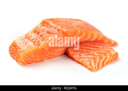 Two slices of salmon on a white background - Stock Image
