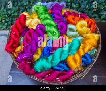 Raw Thai Silk, Bangkok, Thailand - Stock Image