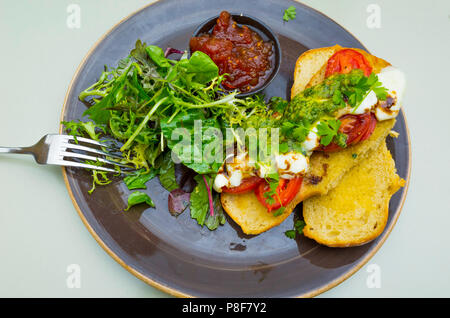A lunchtime sandwich of toasted tomato and Mozzarella on a toasted white bun with salad and tomato chutney - Stock Image