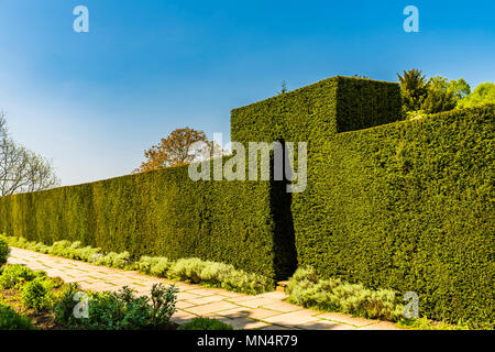 Clipped hedge and entrance at Chartwell, Kent, UK - Stock Image