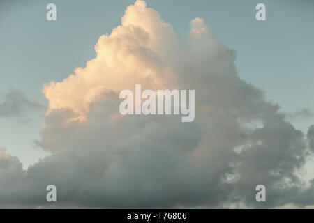 cloud formation in a late day sky in St Barts - Stock Image