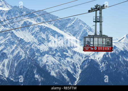 Cable car of the Brevent, winter sports resort in Chamonix Mont Blanc. Haute-Savoie, European Alps, France - Stock Image