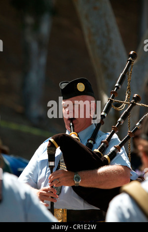 Scottish bagpipers at the Sottish festival and Highland games Costa Mesa California USA - Stock Image