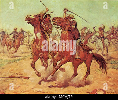 Bluecoat and Indian battle with Tomahawk and Sabre mounted on horseback.  Charles Schreyvogel (January 4, 1861-January 27, 1912) was a painter of Western subject matter in the days of the disappearing frontier. Schreyvogel was especially interested in military life. - Stock Image