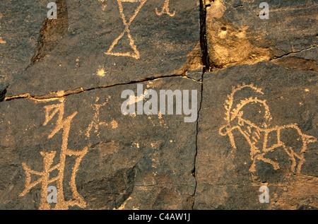 Saudi Arabia, Najran, Bir Hima. One of the country's most important rock art sites is remote Bir Hima - Stock Image