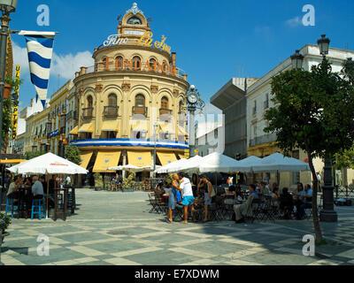 Cafe's on Calle Larga in Jerrez - Stock Image