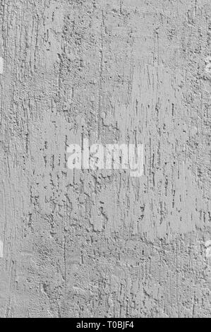 Bright Grey Grunge Plastered Wall Stucco Texture, Vertical Detailed Natural Scratch Grungy Gray Coarse Rustic Textured Background, Concrete Plaster - Stock Image