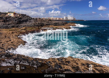 Volcanic shoreline at La Garita, Gran Canaria, Canary Islands - Stock Image