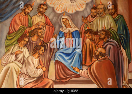 The descent of the Holy Spirit on the apostles and the Virgin Mary. Cathedral of St. Peter and Paul. Aneho. Togo. - Stock Image