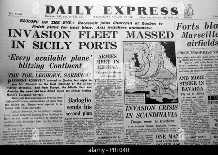Daily Express newspaper front page headlines 'Invasion Fleet Massed in Sicily Ports' August 18 1943  London UK - Stock Image