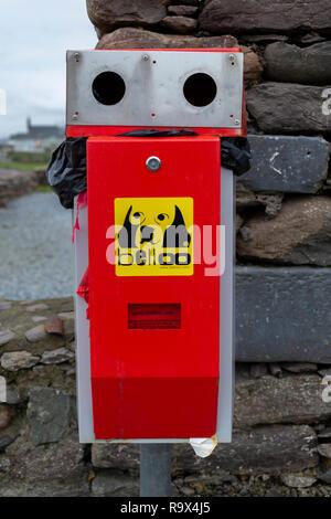 Belloo dog waste bin, Waterville, County Kerry, Ireland - Stock Image