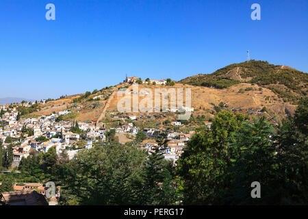 Hillside village around the Alhambra Palace in Granada Spain - Stock Image