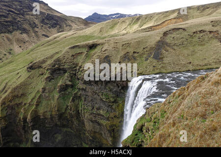 Southern Iceland : the top of Skogafoss waterfall - Stock Image