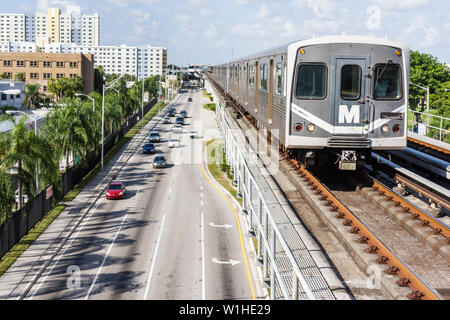 Miami Florida Civic Center Metrorail Station NW 12th Avenue mass transit public transportation elevated rail system train street - Stock Image