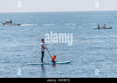 Lulworth, Dorset, UK. 23rd June 2018. Man with a paddleboard at Durdle Door on the Dorset coast, near Lulworth Cove on a hot sunny day in June. Thomas Faull/Alamy Live News - Stock Image
