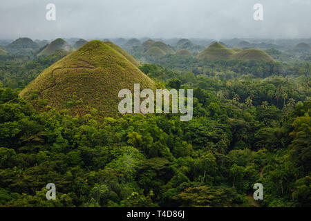 The mystical view of the Chocolate Hills in rainy weather, Bohol, Philippines - Stock Image