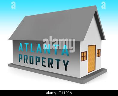 Atlanta Real Estate Icon Shows Property Investment In Georgia. United States Housing Market 3d Illustration - Stock Image