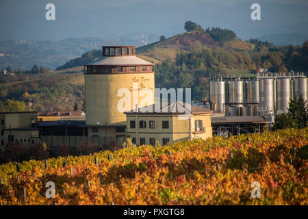 The vinery tower at the La Torre di Castel Rocchero just outside the town of Monferrato in Piedmont, Italy - Stock Image