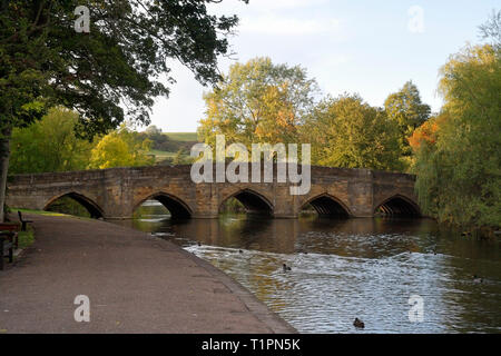 Bakewell's 5 arch 13th century bridge spanning the river wye in Derbyshire England - Stock Image