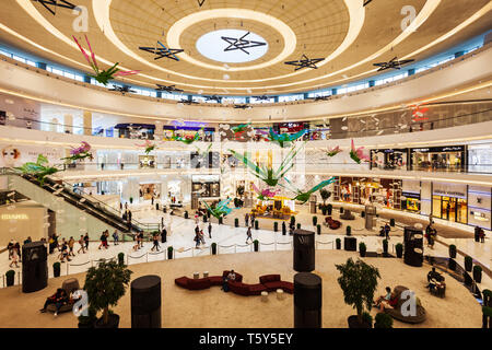 DUBAI, UAE - FEBRUARY 25, 2019: The Dubai Mall interior, the second largest shopping mall in the world located in Dubai in UAE - Stock Image