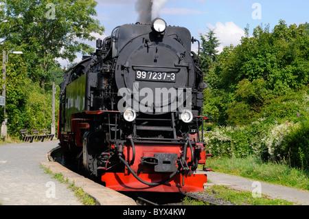 Dampflokomotive in Wernigerode, Sachsen-Anhalt, Deutschland. - Steam locomotive in Wernigerode, Saxony-Anhalt, Germany. - Stock Image