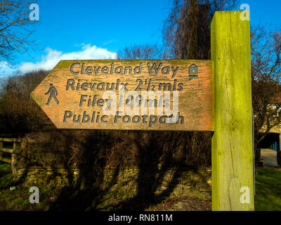 Cleveland Way long distance footpath signpost starting point of the 109 miles route from Helmsley to Filey - Stock Image