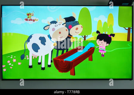Cartagena Colombia TV television monitor screen flat screen cartoon BabyTV audience age targeting entertainment - Stock Image