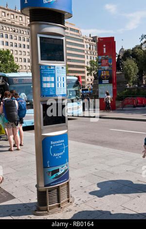 An automatic bus ticket machine at the Placa Catalunya, Barcelona, Spain - Stock Image