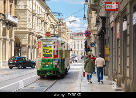 Old vintage tram in Turin, Piedmont, Italy - Stock Image
