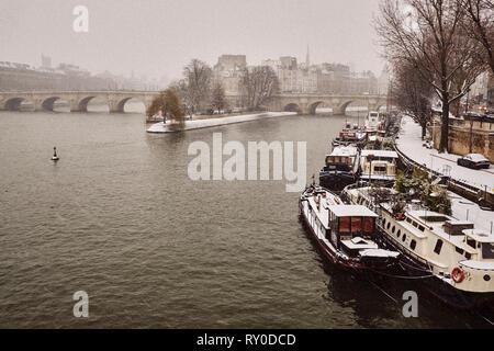 France, Paris, Seine river bank, Ile de la Cité and Notre-Dame - Stock Image