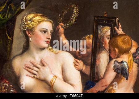 Titian, Venus with a Mirror (detail), painting, c. 1555 - Stock Image