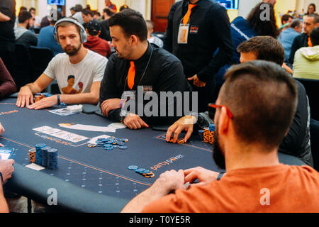Rio de Janeiro, Brazil - March 21st, 2019: Poker Players at the Main Event of the PartyPoker LIVE MILLIONS South America 2019 occuring at the luxurious Copacabana Palace Belmond Hotel in Rio de Janeiro, Brazil from March 15th through March 24th, 2019. Credit: Alexandre Rotenberg/Alamy Live News - Stock Image