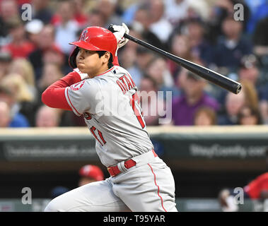 Los Angeles Angels designated hitter Shohei Ohtani hits an RBI single in the sixth inning during the Major League Baseball game against the Minnesota Twins at Target Field in Minneapolis, Minnesota, United States, May 14, 2019. Credit: AFLO/Alamy Live News - Stock Image