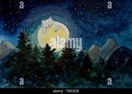 Sleeping Cat print \u2022 watercolour painting of a tiger sleeping in a silver birch tree under a full moon \u2022 nature art for crazy cat ladies
