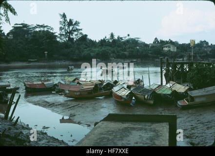 Sampans on Sarawak River; Kuching, Sarawak, NW Borneo, Malaysia. - Stock Image