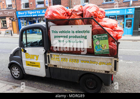 Aixam Mega tipper electric truck, advertising its Zero Emissions credentials. Used by Bury Council, to collect the contents of town litter bins. - Stock Image
