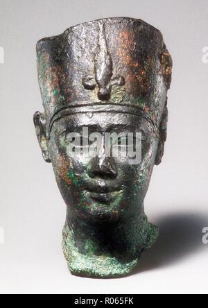 6377. Bronze bust of  Ptolemy  II. (or III.) dating c.  246-222 BC. - Stock Image