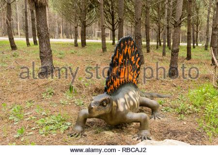 Edaphosaurus model at Dino Parque, Lourinha, Portugal - Stock Image