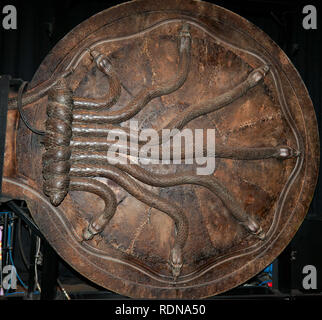 Close-up of the Door to the Chamber of Secrets, Warner Brothers Studio Tour, Leavesdon - Stock Image
