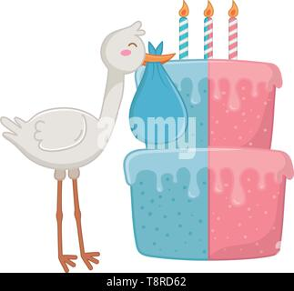 stork holding a clothbag with birthday cake and candle lit vector illustration graphic design - Stock Image