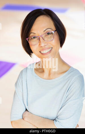 Portrait smiling senior woman - Stock Image