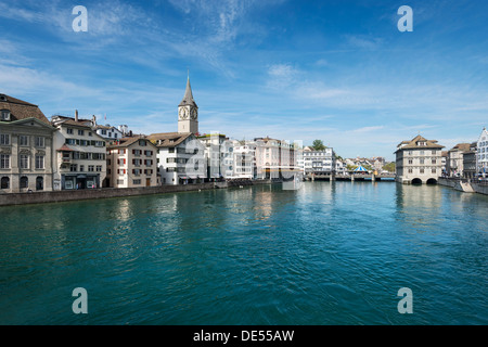 View of the Limmat river with the old town promenade, Zurich, Canton Zurich, Switzerland, Europe - Stock Image