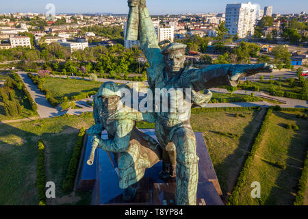 Aerial view the Sailor and Soldier monument to the feat of the defenders of Sevastopol during the World War II on the hill of the Cape Crystal - Stock Image