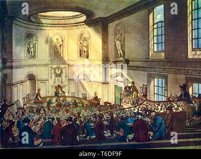 The Sale Room at East India House, London UK, engraving, 1809 - Stock Image