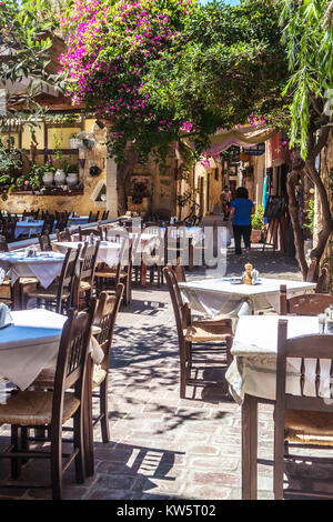 Chania Bar ready for guest arrival, Old Town Crete, Greece, Europe - Stock Image