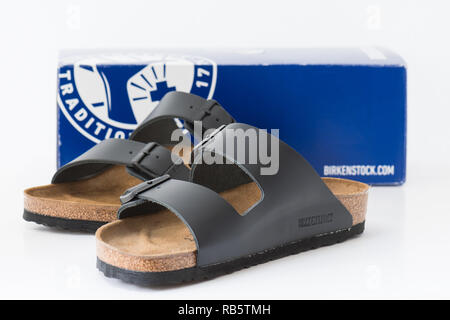Birkenstocks womens sandals made by Birkenstock - Stock Image