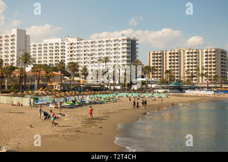Coastal view of Benalmadena costa, with hotels and apartment blocks, Costa del Sol, Andalusia, Spain. - Stock Image