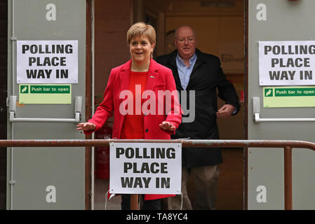 SNP leader Nicola Sturgeon at a polling station at Broomhouse Park Community Hall in Glasgow after casting her vote for the European Parliament elections. - Stock Image