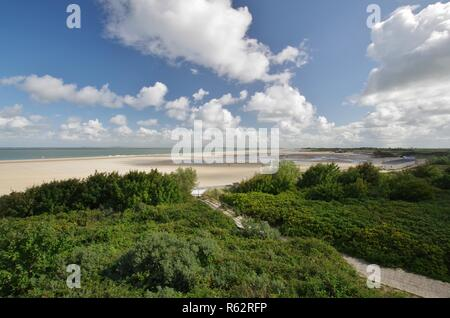 dunes,sandy beach and north sea at  - Stock Image